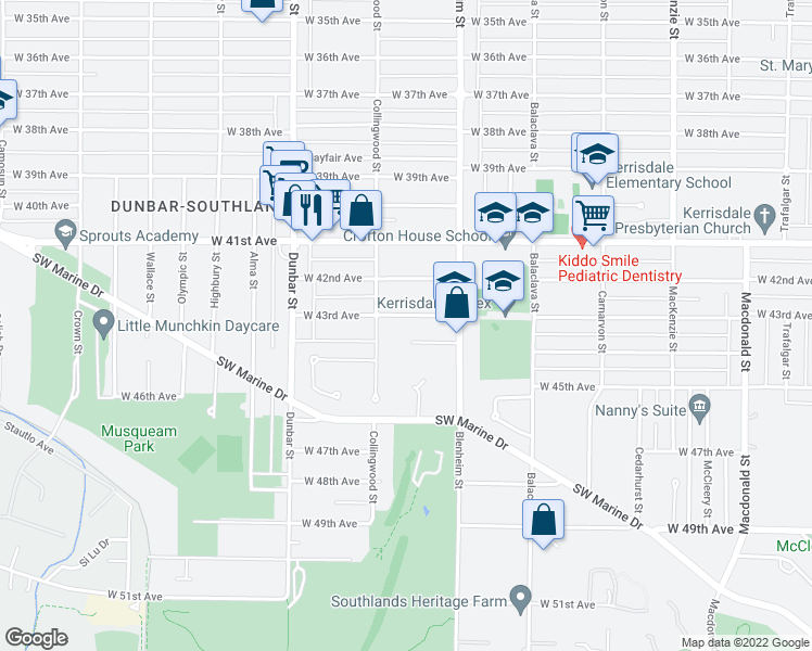 map of restaurants, bars, coffee shops, grocery stores, and more near 3422 West 43rd Avenue in Vancouver