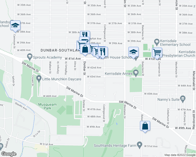 map of restaurants, bars, coffee shops, grocery stores, and more near 3538 West 43rd Avenue in Vancouver