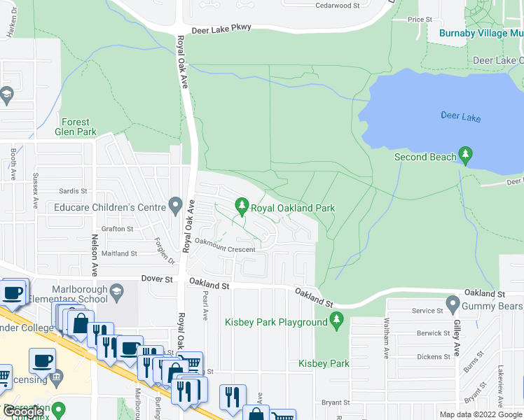 map of restaurants, bars, coffee shops, grocery stores, and more near 5221 Oakmount Crescent in Burnaby