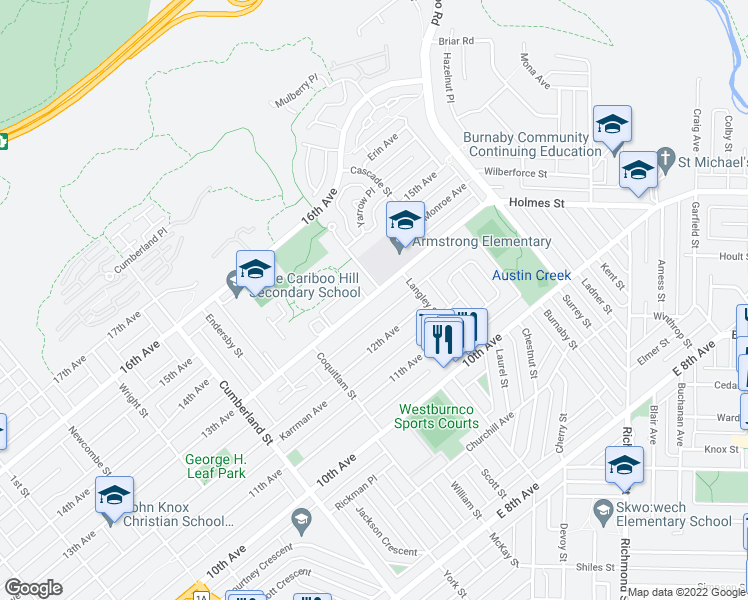 map of restaurants, bars, coffee shops, grocery stores, and more near 8662 Armstrong Avenue in Burnaby