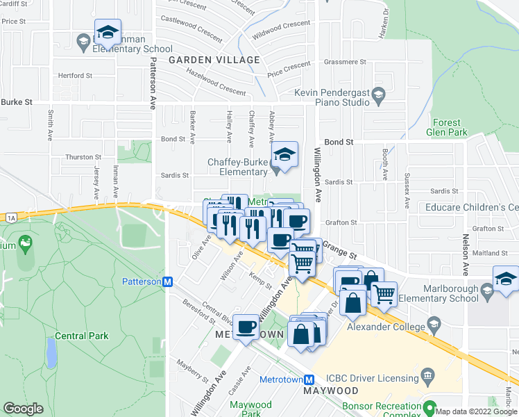 map of restaurants, bars, coffee shops, grocery stores, and more near 4345 Grange Street in Burnaby