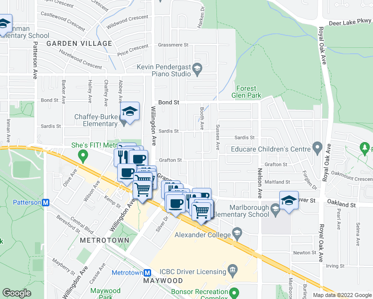 map of restaurants, bars, coffee shops, grocery stores, and more near 5750 Elsom Avenue in Burnaby