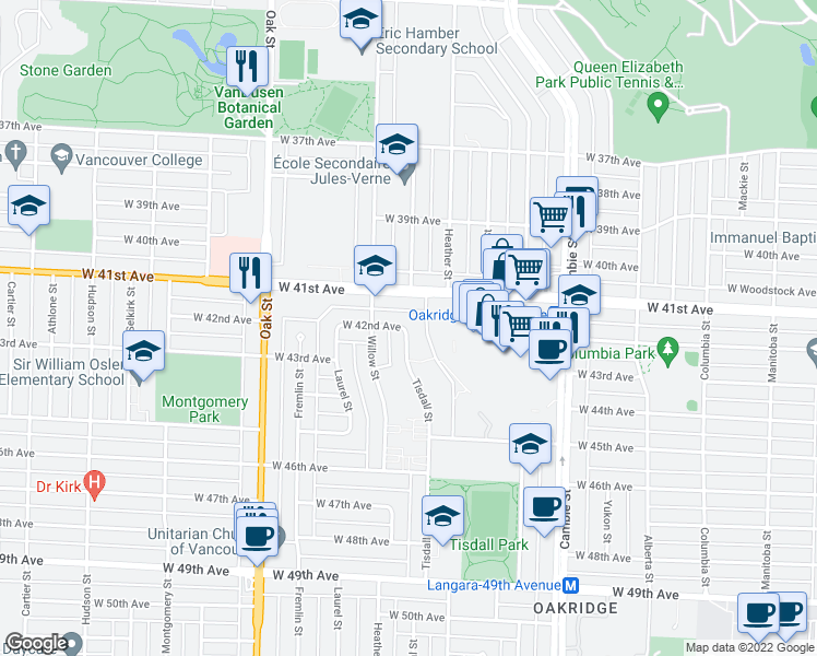map of restaurants, bars, coffee shops, grocery stores, and more near 5818 Tisdall Street in Vancouver