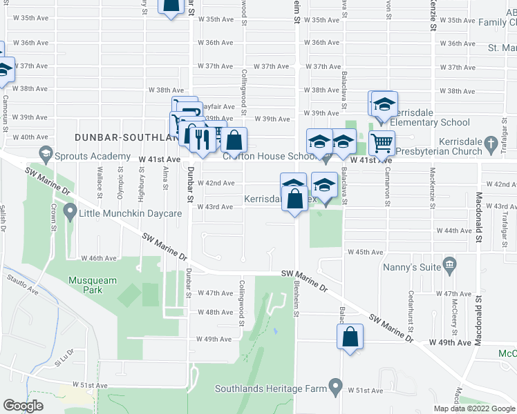 map of restaurants, bars, coffee shops, grocery stores, and more near 3420 West 43rd Avenue in Vancouver