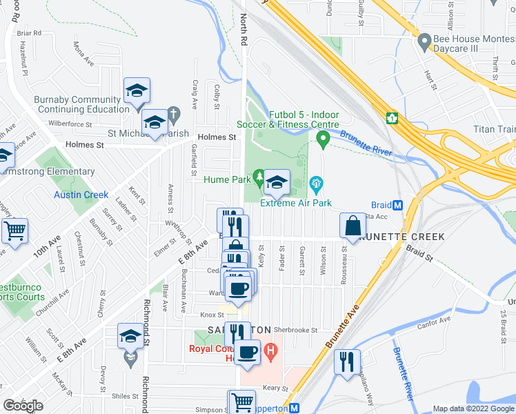map of restaurants, bars, coffee shops, grocery stores, and more near 521 Kelly Street in New Westminster