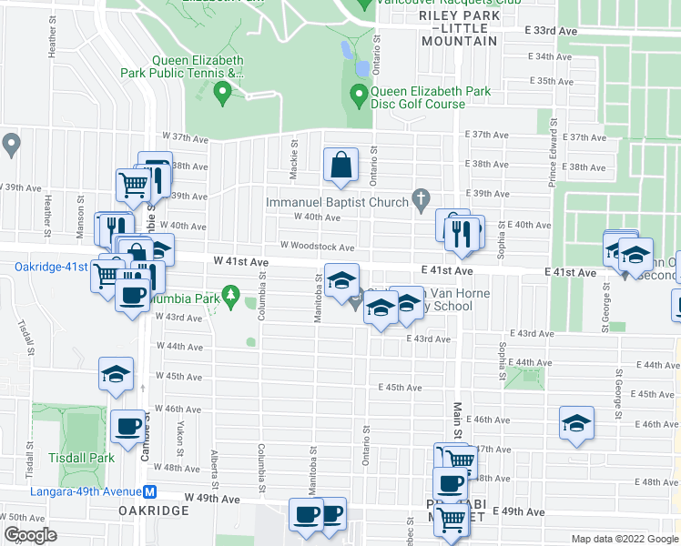 map of restaurants, bars, coffee shops, grocery stores, and more near 56 West 41st Avenue in Vancouver