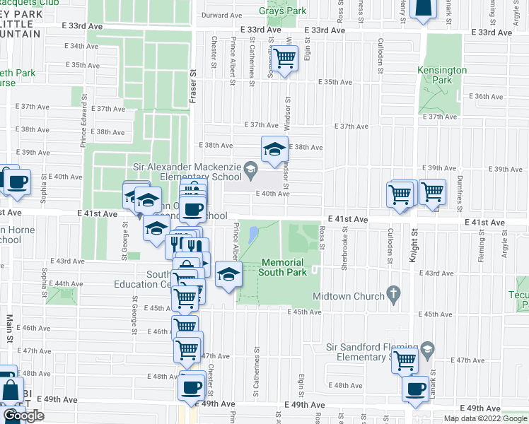 map of restaurants, bars, coffee shops, grocery stores, and more near 927 East 41st Avenue in Vancouver