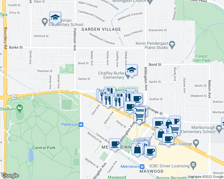 map of restaurants, bars, coffee shops, grocery stores, and more near 5695 Chaffey Avenue in Burnaby