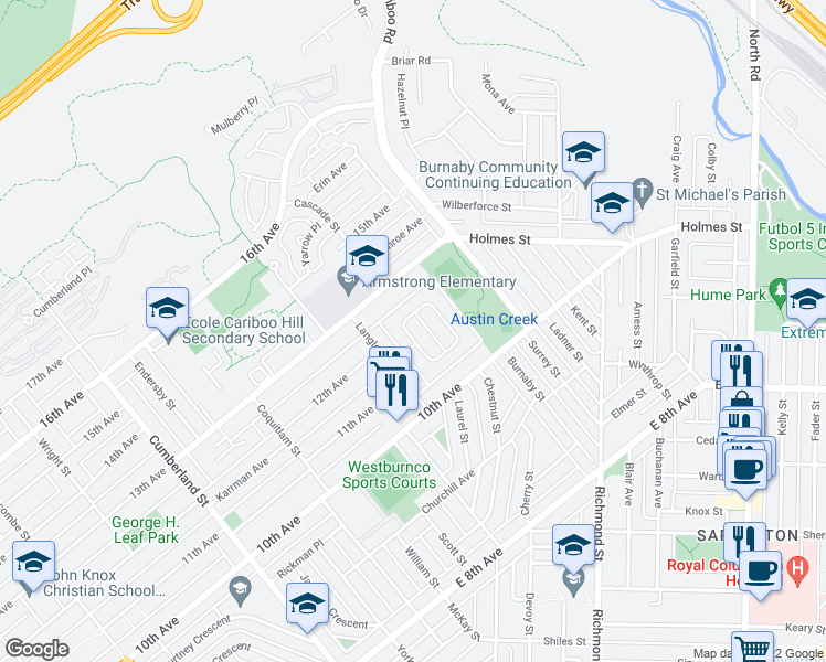 map of restaurants, bars, coffee shops, grocery stores, and more near 8708 Crest Drive in Burnaby