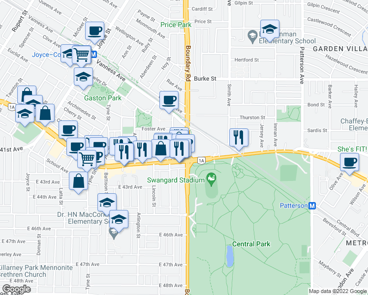 map of restaurants, bars, coffee shops, grocery stores, and more near 5665 Boundary Road in Vancouver