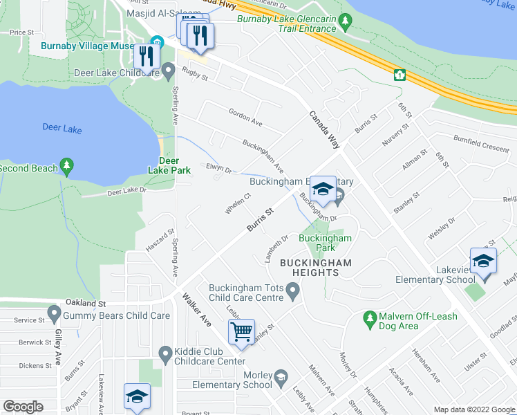 map of restaurants, bars, coffee shops, grocery stores, and more near 5890 Braemar Avenue in Burnaby
