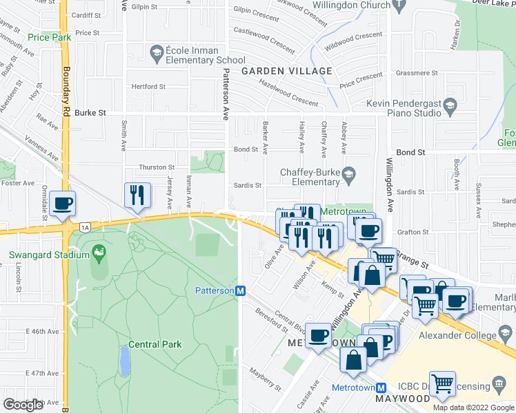 map of restaurants, bars, coffee shops, grocery stores, and more near 5645 Barker Avenue in Burnaby