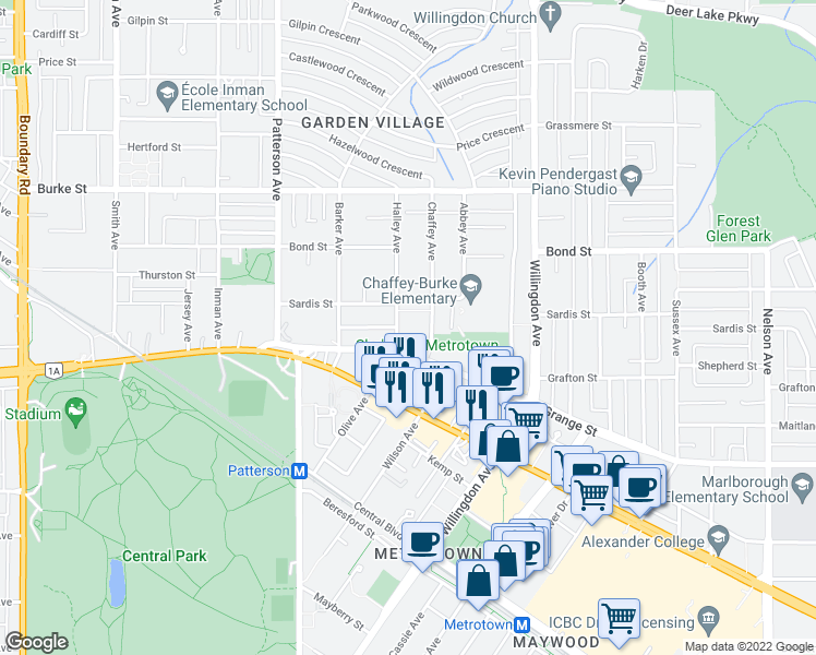 map of restaurants, bars, coffee shops, grocery stores, and more near 5656 Halley Avenue in Burnaby