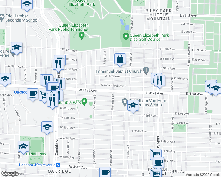 map of restaurants, bars, coffee shops, grocery stores, and more near 115 West 41st Avenue in Vancouver
