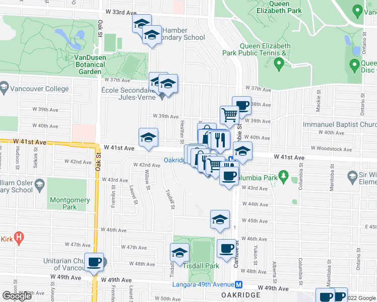 map of restaurants, bars, coffee shops, grocery stores, and more near 668 West 41st Avenue in Vancouver