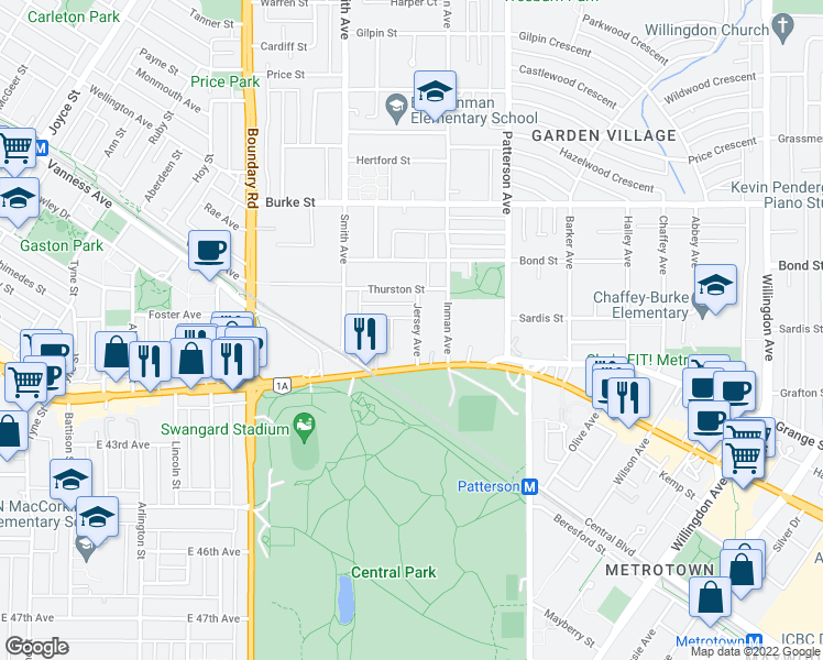map of restaurants, bars, coffee shops, grocery stores, and more near 5715 Jersey Avenue in Burnaby