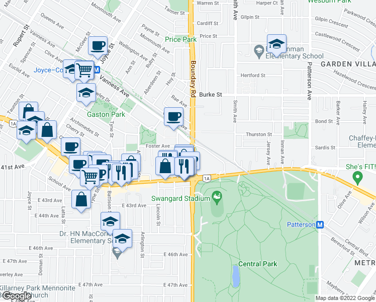 map of restaurants, bars, coffee shops, grocery stores, and more near 5515 Boundary Road in Vancouver