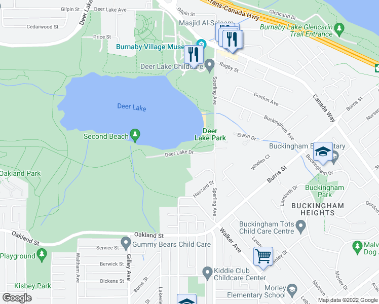 map of restaurants, bars, coffee shops, grocery stores, and more near 6636 Deer Lake Drive in Burnaby