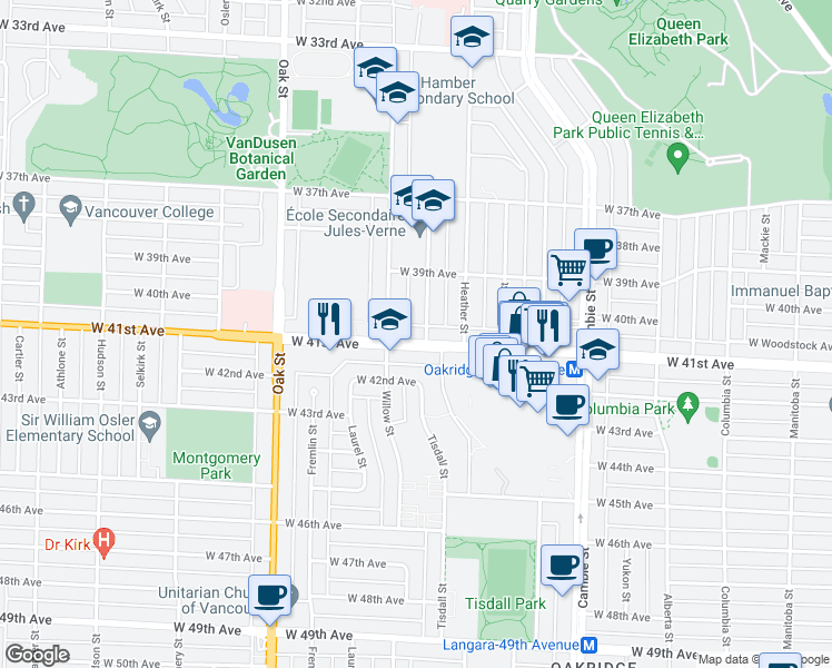 map of restaurants, bars, coffee shops, grocery stores, and more near 5699 Baillie Street in Vancouver