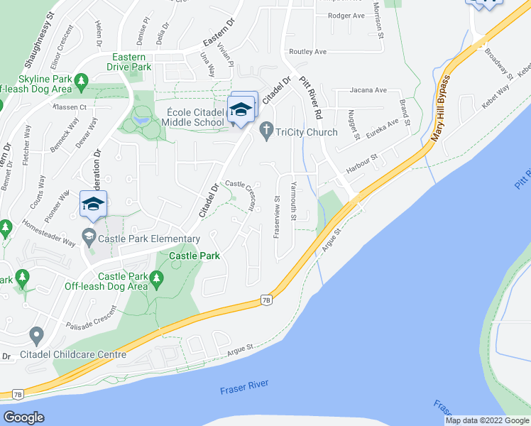 map of restaurants, bars, coffee shops, grocery stores, and more near 2135 Tower Court in Port Coquitlam