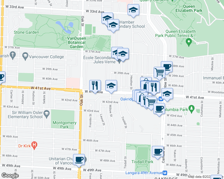 map of restaurants, bars, coffee shops, grocery stores, and more near 5688 Willow Street in Vancouver