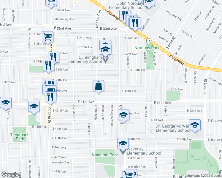 map of restaurants, bars, coffee shops, grocery stores, and more near 2443 East 40th Avenue in Vancouver