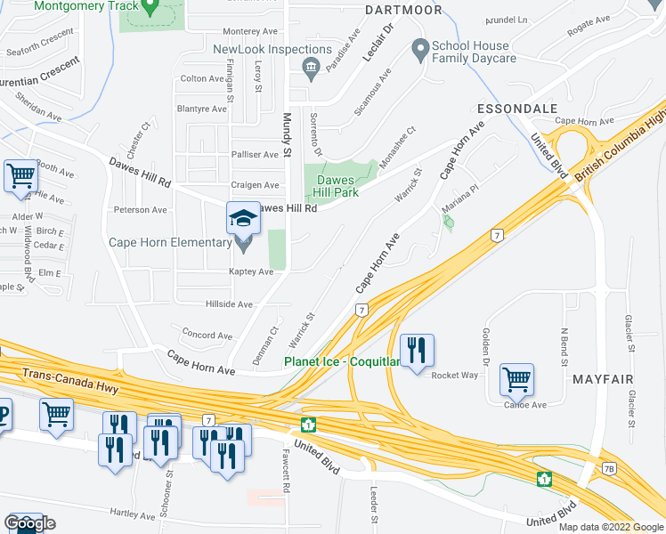 map of restaurants, bars, coffee shops, grocery stores, and more near 152 Warrick Street in Coquitlam