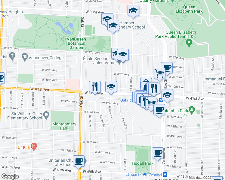 map of restaurants, bars, coffee shops, grocery stores, and more near 5637 Baillie Street in Vancouver