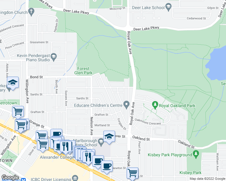 map of restaurants, bars, coffee shops, grocery stores, and more near 5050 Buxton Street in Burnaby