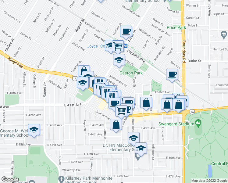 map of restaurants, bars, coffee shops, grocery stores, and more near 3351 Church Street in Vancouver