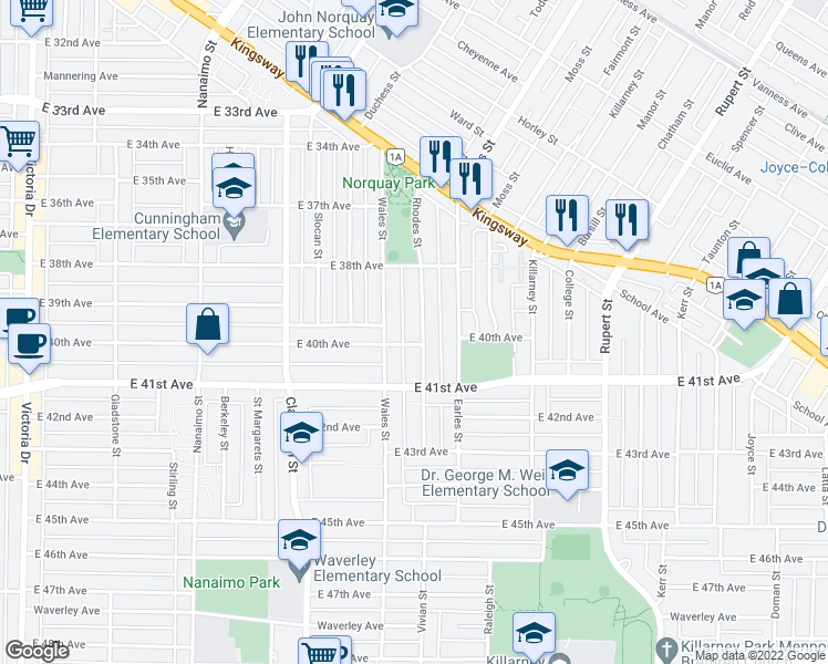 map of restaurants, bars, coffee shops, grocery stores, and more near 5571 Rhodes Street in Vancouver
