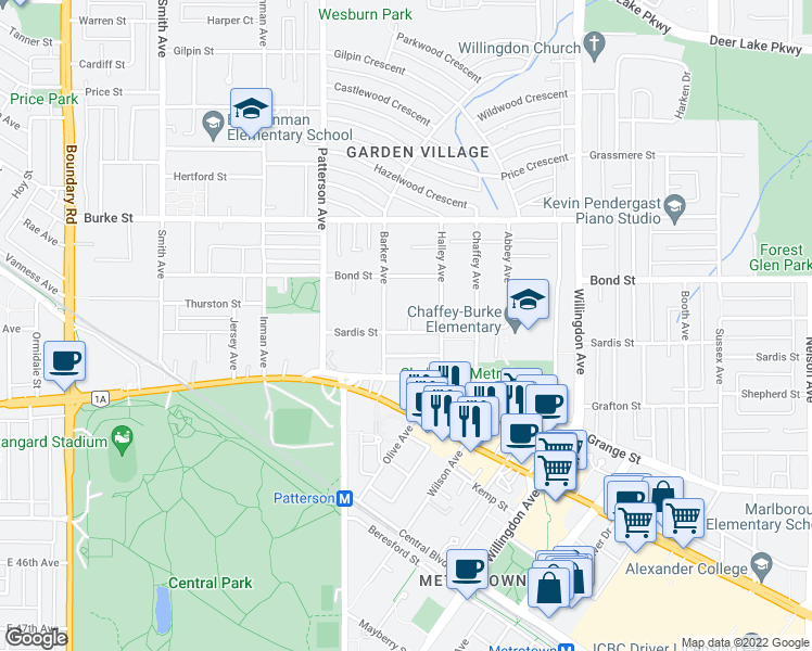 map of restaurants, bars, coffee shops, grocery stores, and more near 4237 Sardis Street in Burnaby