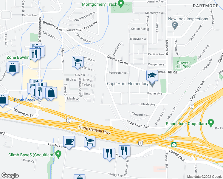map of restaurants, bars, coffee shops, grocery stores, and more near 1865 Brunette Avenue in Coquitlam