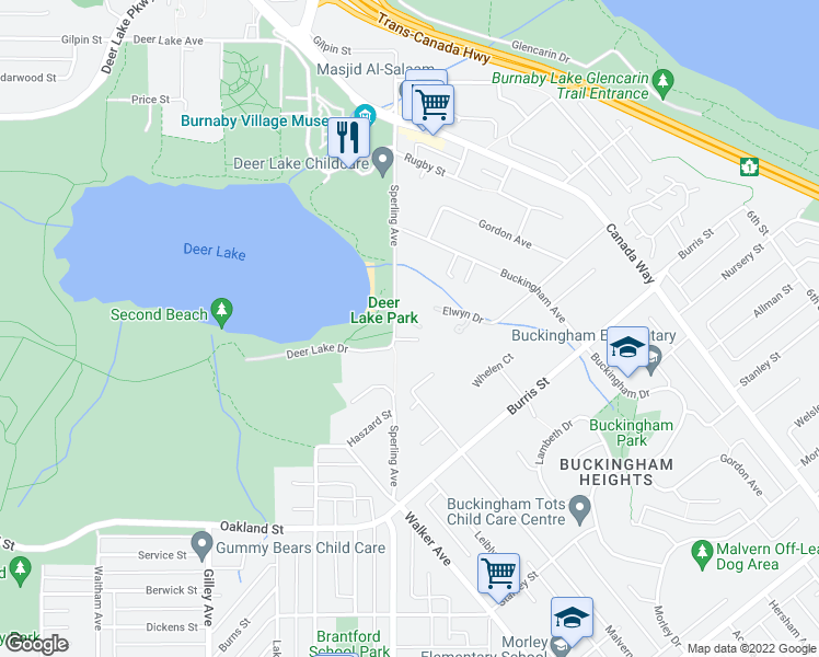 map of restaurants, bars, coffee shops, grocery stores, and more near 5550 Hampstead Place in Burnaby