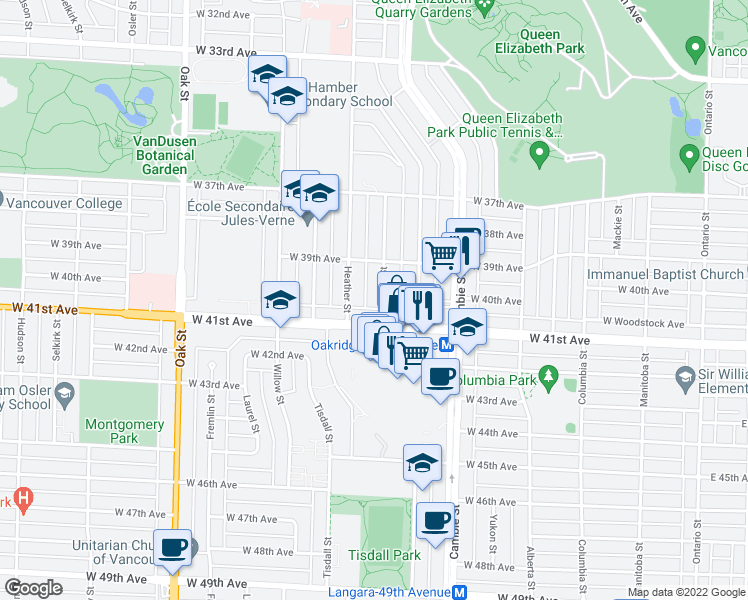 map of restaurants, bars, coffee shops, grocery stores, and more near 5647 Manson Street in Vancouver