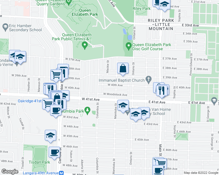 map of restaurants, bars, coffee shops, grocery stores, and more near 140 West 40th Avenue in Vancouver