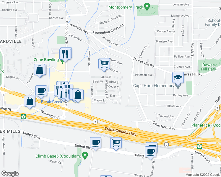 map of restaurants, bars, coffee shops, grocery stores, and more near 201 Cayer Street in Coquitlam