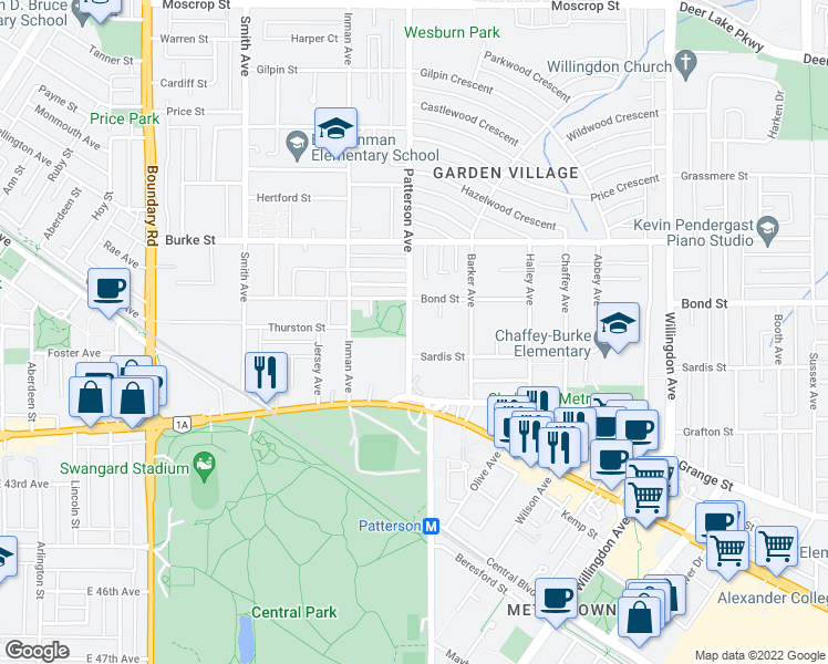 map of restaurants, bars, coffee shops, grocery stores, and more near 5588 Patterson Avenue in Burnaby