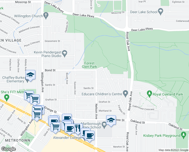 map of restaurants, bars, coffee shops, grocery stores, and more near 5469 Nelson Avenue in Burnaby