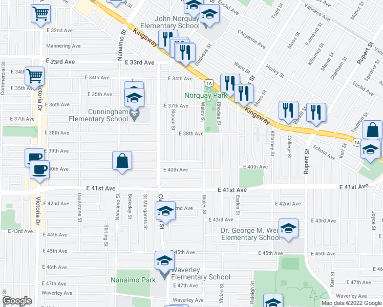 map of restaurants, bars, coffee shops, grocery stores, and more near 5508 Chambers Street in Vancouver