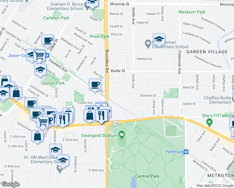 map of restaurants, bars, coffee shops, grocery stores, and more near 3728 Thurston Street in Burnaby