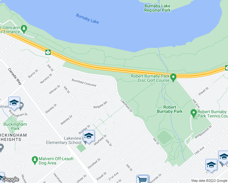 map of restaurants, bars, coffee shops, grocery stores, and more near 8190 Lakefield Drive in Burnaby