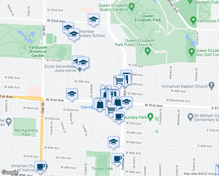 map of restaurants, bars, coffee shops, grocery stores, and more near 5561 Ash Street in Vancouver
