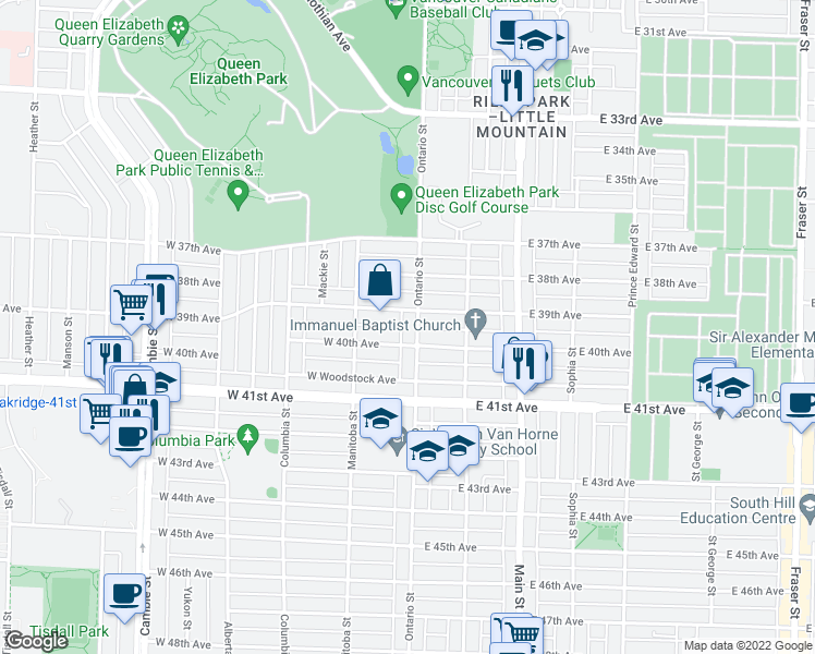 map of restaurants, bars, coffee shops, grocery stores, and more near 5545 Ontario Street in Vancouver