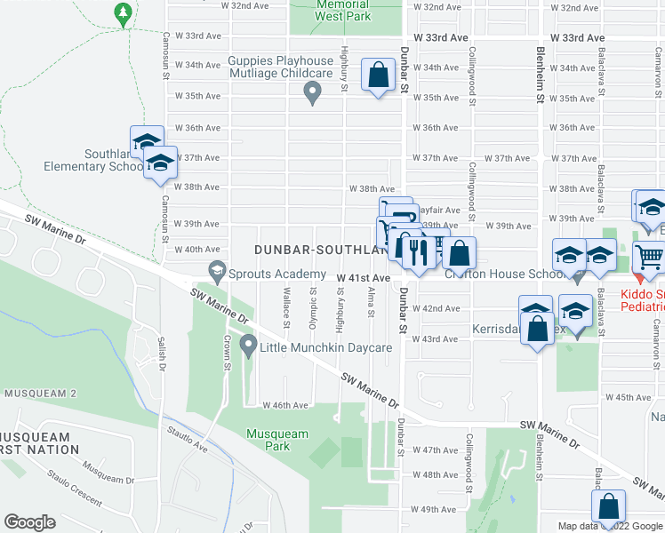 map of restaurants, bars, coffee shops, grocery stores, and more near 5661 Highbury Street in Vancouver