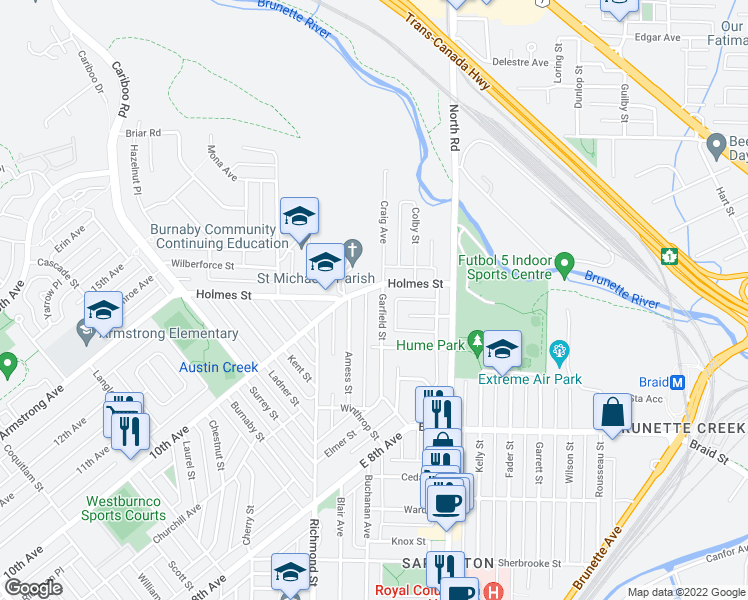 map of restaurants, bars, coffee shops, grocery stores, and more near 557 Garfield Street in New Westminster