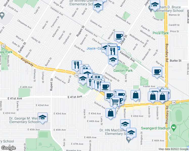 map of restaurants, bars, coffee shops, grocery stores, and more near 5408 Cecil Street in Vancouver