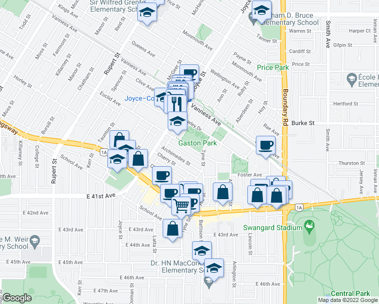 map of restaurants, bars, coffee shops, grocery stores, and more near 3462 Euclid Avenue in Vancouver