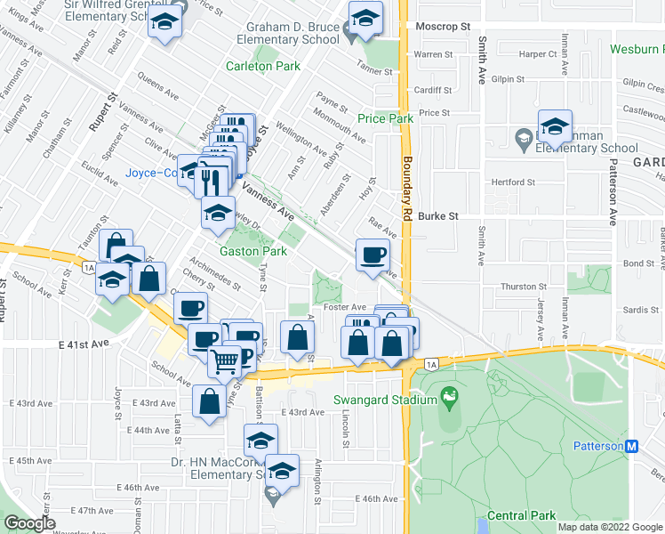 map of restaurants, bars, coffee shops, grocery stores, and more near 3663 Crowley Drive in Vancouver