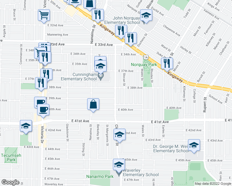 map of restaurants, bars, coffee shops, grocery stores, and more near 5446 Clarendon Street in Vancouver